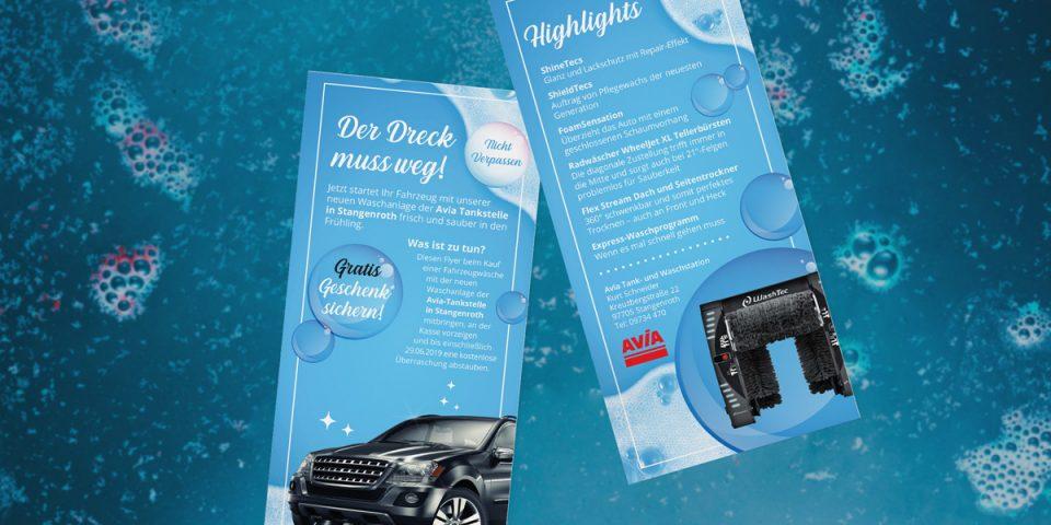 Printwerbung AVIA Tankstelle / Waschanlage