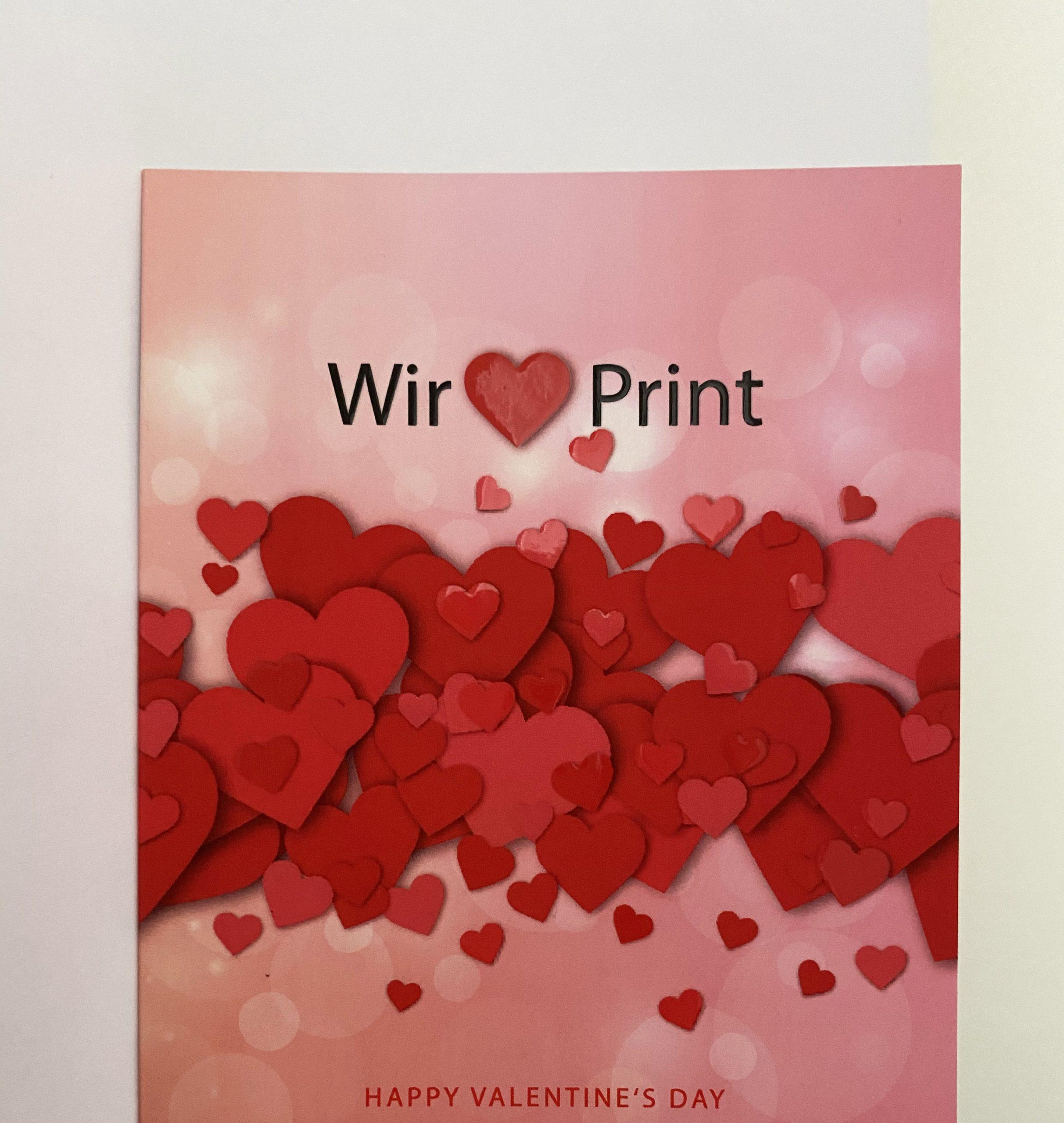 "Valentinstagskarte ""We love print"" mit Spotlack"